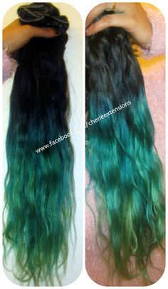 Balayage Dip Dye 8A Remy Dip Dye Ombre Balayage  Human Halo Hair Extensions Flip In Angel Wire    Colour 1 Black & Peacock Green by CherieHairExtensions on Etsy https://www.etsy.com/listing/215377362/balayage-dip-dye-8a-remy-dip-dye-ombre