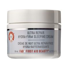 Shop First Aid Beauty's Ultra Repair Hydra-Firm Sleeping Cream at Sephora. This night cream hydrates while helping diminish the appearance of fine lines and wrinkles. Makeup Must Haves, Beauty Must Haves, Skin Care Regimen, Skin Care Tips, Combination Skin Care, First Aid Beauty, Facial Cream, Winter Beauty, Beauty Routines