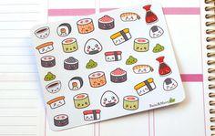 Kawaii Sushi Planner Sticker Set / Perfect for Erin Condren Life Planner, Kikki
