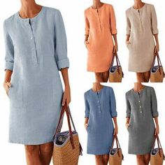 Womens Cotton Linen Long Sleeve Tops V Neck Pocket T-Shirt Holiday Beach Dress Plus Size Autumn Dresses, Plus Size Maxi Dresses, Long Sleeve Tunic Dress, Shirt Dress, Cotton Linen, Clothes For Women, Holiday Beach, Lady, Jeans