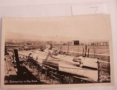 military postcard Submarine in Dry Dock RPPC by NeatstuffAntiques, $30.00