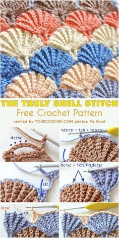 The Truly Shell Stitch Free Crochet Pattern and Tutorial. The beautiful shell st. , The Truly Shell Stitch Free Crochet Pattern and Tutorial. The beautiful shell stich is so pretty which makes it one of the most popular stitches, espe. Crochet Afghans, Motifs Afghans, Crochet Motifs, Crochet Stitches Patterns, Crochet Baby, Stitch Patterns, Baby Afghans, Crochet Stitches For Blankets, Free Crochet Patterns For Beginners