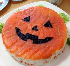 Halloween Sushi Garnished with Salmon #OYSHEE #japanese