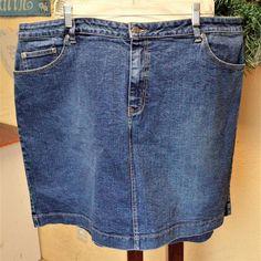 2c510c83ad8 Venezia 24W 3X Plus Lane Bryant Denim Jean Skirt Blue Pockets No Slit  Stretch