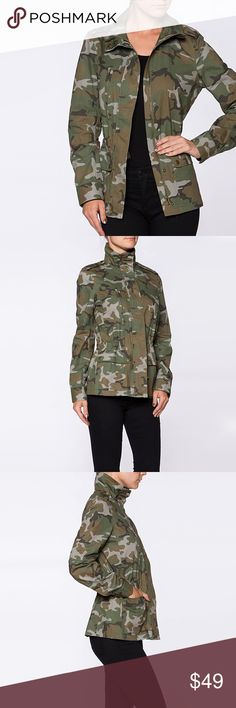 "Military Utility Camo, Urban Chic Jacket ❤️ BUNDLES  ❌ NO TRADES  ❌ NO Lowballing!   • Utility Pockets  • 100% Cotton  * MEASUREMETNS: • SIZE: SMALL - Length: 25"" Approx - Bust: 36"" Approx • • SIZE: MEDIUM - Length: 25.5"" Approx - Bust: 38"" Approx • • SIZE: LARGE - Length: 26"" Approx - Bust: 40"" Approx Jackets & Coats Utility Jackets"