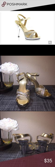 """Fabulicious Gold Flair Heels Fabulicious Gold Flair Heels. Size 8M US, 5Uk, 38EU, 25.1 CM. NWT. 5"""" heel. Comes from smoke free home. Fabulicious Shoes Heels"""