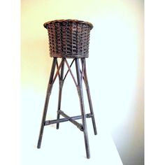 1930s Woven Wicker Basket Plant Stand ($165) ❤ liked on Polyvore featuring home, home decor and wicker plant stand