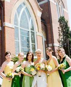 Southern weddings - yellow and green bridesmaid dresses
