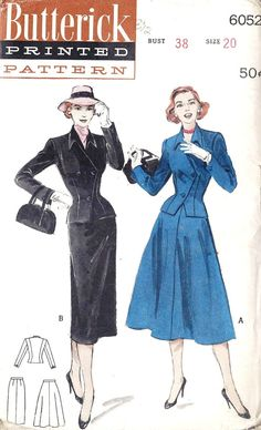 1950s Soft Tailored Suit Slim or Flared Skirt by MissBettysAttic, $15.00