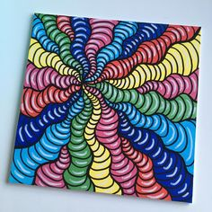 hippie painting ideas 746119863243718499 - Wavy Rainbow Lines (acryllic paint on canvas) Perla Schippers-Anröchte ( Sharpie Drawings, Trippy Drawings, Psychedelic Drawings, Small Canvas Paintings, Small Canvas Art, Mini Canvas Art, Hippie Painting, Trippy Painting, Arte Sharpie