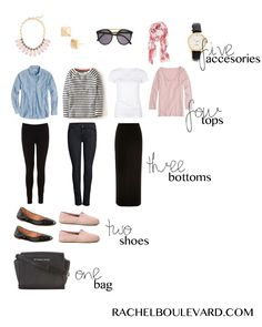 packing light. What changes would make this capsule wardrobe work for me? I know my pink shoes should be more delicate (as should the statement necklace) and my pants are better straight. Black is too stark contrast and the stripe should be micro-. The chambray is better dark rinse, if you change one of the bottoms to a medium color.