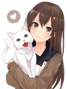 Anime girl, , brown hair, , brown eyes, , white cat, , blushing