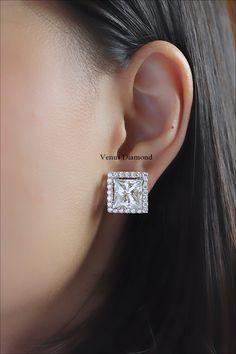 Princess cut diamond earring carat h color Princess Cut Diamond Earrings, Princess Cut Diamonds, Diamond Cuts, Color, Jewelry, Jewlery, Jewerly, Colour, Schmuck