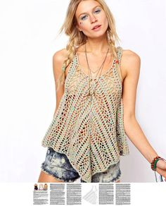 Crochet top PATTERN, detailed instructions in ENGLISH for every row, sexy beach crochet top, boho crochet PATTERN.