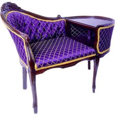 Purple and Gold Style Gossip Bench ~ This is gorgeous! by deidre Purple Furniture, Unique Furniture, Gossip Bench, Purple Chair, Purple Home, Cool Stuff, Take A Seat, My New Room, Shades Of Purple