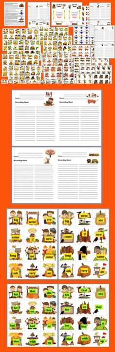 """$ Fall Literacy Centers Sight Words Activities - 55 Page Download SET One – 10  Different Sets – Memory and  """"Watch Out For Jack Frost!"""" Card Games - 5 Ways to Play  - First 100 Dolch Words. (See set 2 in my other product listings for the last 120 Dolch Words.)"""