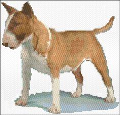 Bull terrier free cross stitch pattern