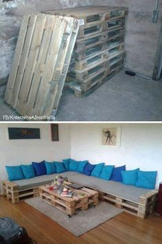 L shaped pallet couch idea.