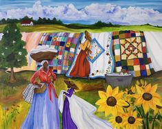 Country Quilts Painting by Diane Britton Dunham