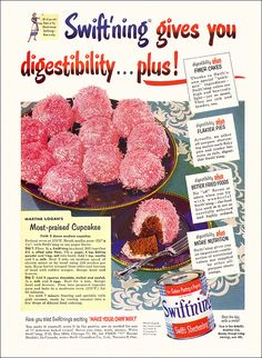 Retro cupcake recipe from 1952  These cupcakes remind me of Hostess Sno Balls without the cream filling.