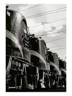 size: Art Print: Monsters at Rest, Diesel Trains Poster : Hobby Trains, Old Trains, Vintage Trains, Third Rail, Train Posters, Pennsylvania Railroad, Train Art, Electric Locomotive, Steam Locomotive