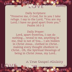 Daily Prayer: Lord, apart fromYou, I can do nothing... reveal to me, anything in me, that is not of You... I am hidden in Christ Jesus.. clothed in Christ.. making every thought obedient to Christ.. Oh, the Spiritual blessings of being in Christ Jesus, my Lord.. #DailyScripture #dailyprayer #eveningscripture #eveningprayer #love #scripturequote #biblequote #instabible  #quote #seekgod #godsword #godislove #gospel #jesus #jesussaves #teamjesus #testify #pray #rollin4Christ…