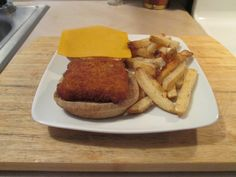 I used a Gorton's Fish Fillet that I baked along with some Ore Ida Simply Cracked Black Pepper and Sea Salt Country Style Fries. Baked both at the same time both at 400 degrees. I served the Gorton's Fish on a Kroger Lite Wheat Bun and topped the Fish with just a little Tarter Sauce and a slice of Sargento Ultra Thin Sharp Cheddar Cheese. Ore Ida, Tarter Sauce, Fish Sandwich, Cracked Black Pepper, Sea Salt, Cheddar Cheese, Country Style, Fries, French Toast
