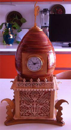 The Egg Clock, scroll saw fretwork pattern