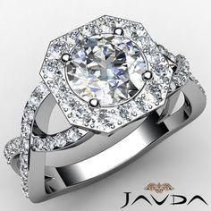 Round Diamond GIA I VS2 18K White Gold Engagement Halo Curve Shank Ring 2 13ct | eBay