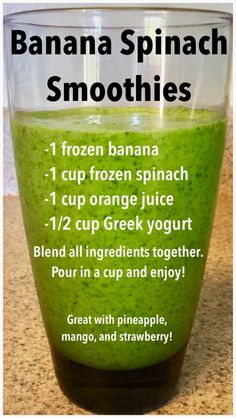 Smoothie Recipes Banana spinach smoothie, easy smoothie recipe, healthy treat - Banana spinach smoothies are a delicious way to cool off during hot Summer days. Try this quick and easy recipe for a refreshing treat! Smoothies Banane, Protein Smoothies, Apple Smoothies, Easy Smoothies, Toddler Smoothies, Vegetable Smoothies, Spinach Smoothie Recipes, Easy Smoothie Recipes, Spinach Banana Smoothie