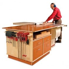 Tablesaw Outfeed Cabinet Project Plan (Print Plan)  Versatile workstation stores all your tablesaw gear and then some  John White $19.95