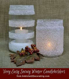 Snowy winter candleholders made with epsom salt.