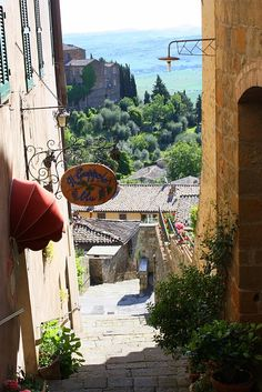 Montalcino's most photographed alley-way... so pleased our wines are at Il Grappolo Blu.