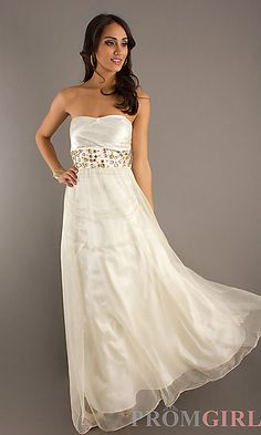 Floor Length Strapless Gown at PromGirl.com
