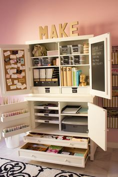 12 Creative Craft Closets {amazing ideas} - EverythingEtsy.com what about racks like the paint holders here for spools of thread?
