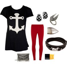 Anchor tshirt with red leggings; blod and graphic