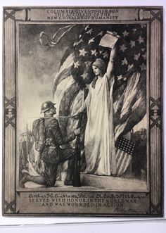 """""""Columbia Gives to her son the accolade of the new civalry of humanity""""; E. H. Blashfield; 1919; Lithograph"""