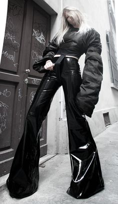 vinyl pants - pvc bell-bottom pants with medium waist facing and long zip on the back - MADE TO ORDER Bell Bottom Pants, Bell Bottoms, Leather Pants Outfit, How To Hem Pants, Vinyl Fabric, Pvc, Skinny, Flare Pants, Couture