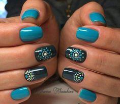 Teal and black nail design Classy Nails, Fancy Nails, Stylish Nails, Trendy Nails, Cute Acrylic Nails, Acrylic Nail Designs, Nail Art Designs, Shellac Nails, Diy Nails