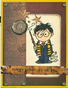 My youngest son turns 8 in August, and is having a Harry Potter party, so this is his card!  Image is a digi by Bugaboo stamps, and is colo...