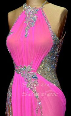 Ballroom Pink  Sexy Crystal Cha Cha Ramba Latin UK8/ US6 Dance Dress #Ld1831