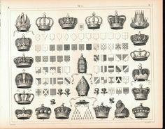 Shields Crests Crowns Antique Print 1857