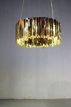 FACET Chandelier in Brass, by Tom Kirk for innermost