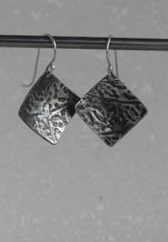 pure silver dangle earrings by juli711. domed square by Juli711