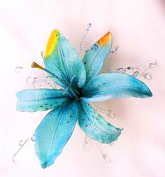Maui Blue Tropical Hair Accessory - hair clip - headpiece with crystals