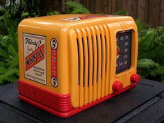 1939 RCA AM tube radio. Bakelite with Whistle Soft Drink Soda ad