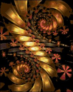 Fall Swirl Cross Stitch Printable Needlework Pattern - DIY Crossstitch Chart, Relaxing Hobby, Instant Download PDF Design