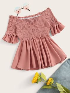 To find out about the Crossover Shirred Off The Shoulder Blouse at SHEIN, part of our latest Blouses ready to shop online today! Girls Fashion Clothes, Teen Fashion Outfits, Girl Fashion, Fashion Dresses, Indian Blouse Designs, Kimono Tee, Mode Top, Trend Fashion, Peplum Blouse