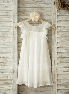 A-Line/Princess Knee-length Flower Girl Dress - Chiffon Short Sleeves Scoop Neck With Lace (010093248)