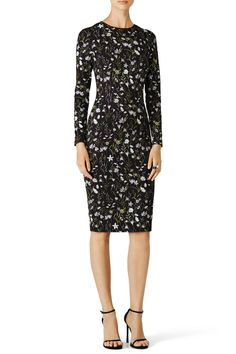 Black floral printed crepe. Long sleeve. Crew neckline. Fitted skirt. Hidden back zipper with hook-and-eye closure. Fully lined. Dry clean.   Prairie Floral Dress by Cynthia Rowley. Clothing - Dresses - Long Sleeve Clothing - Dresses - Work Clothing - Dresses - Floral Ohio
